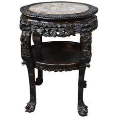 Antique Chinese Teak Wood Carved Stand Soapstone Top