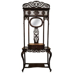 Antique Chinese Teakwood Porte-Manteau 'Hall Tree' with Small Mirror, circa 1880