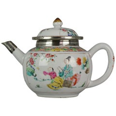 Antique Chinese Teapot Yongzheng Famille Rose Qing Dynasty Fencai