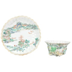 Antique Chinese Teapot Yongzheng/Qianlong Relief Landscape Tea Bowl Qing