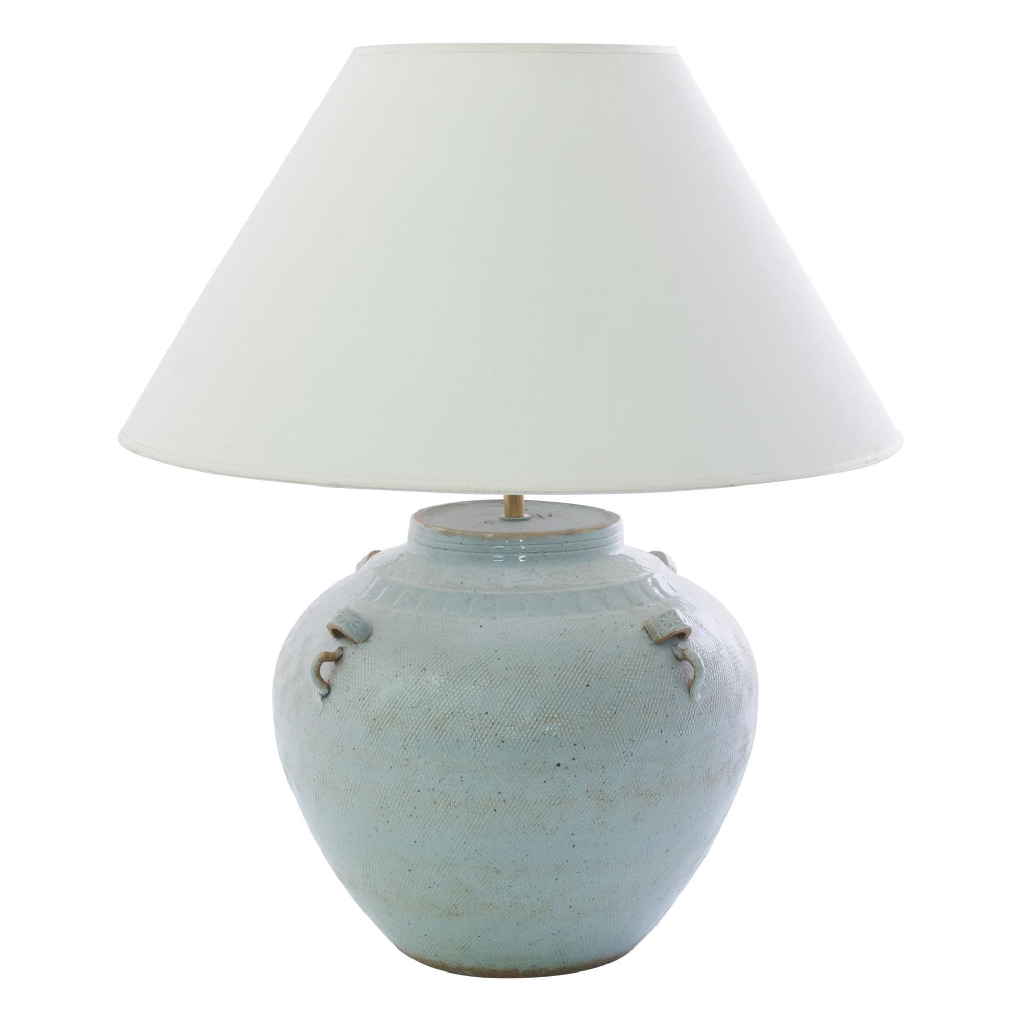 Antique Chinese Textured Light Blue Ceramic Vase Table Lamp