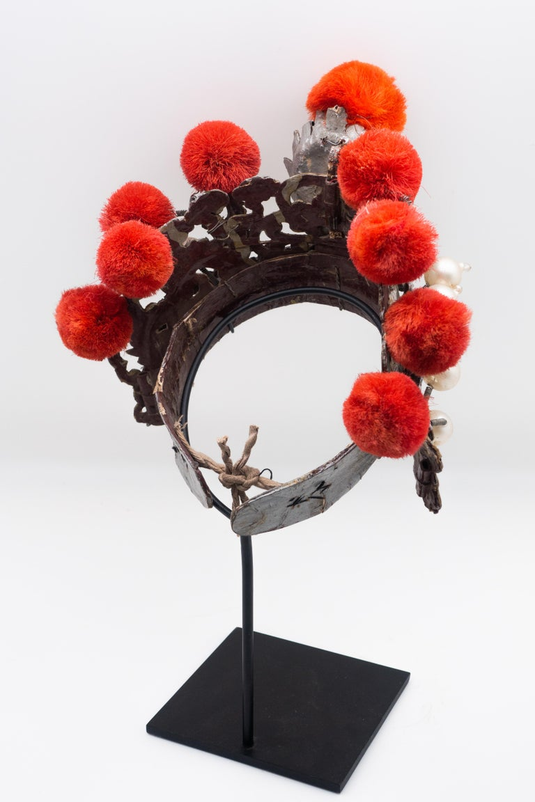 Qing Antique Chinese Theatre Opera Headdress in Turquoise and Coral Colored Pom Poms For Sale