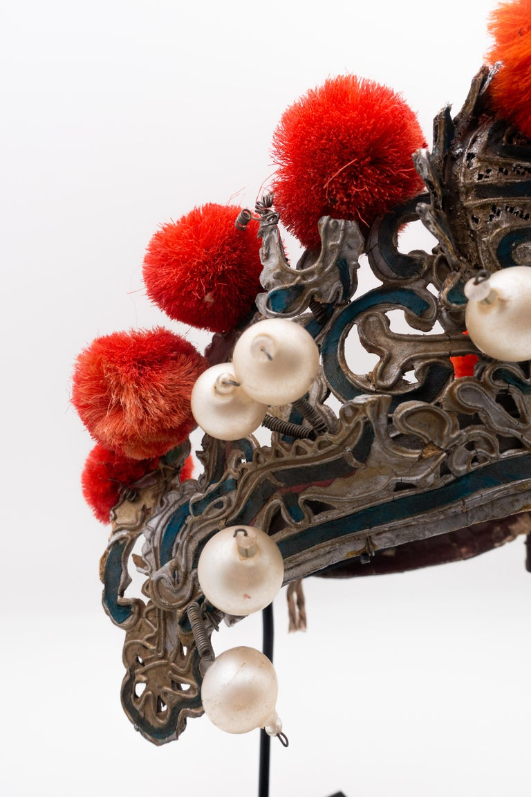 Antique Chinese Theatre Opera Headdress in Turquoise and Coral Colored Pom Poms In Good Condition For Sale In New York, NY