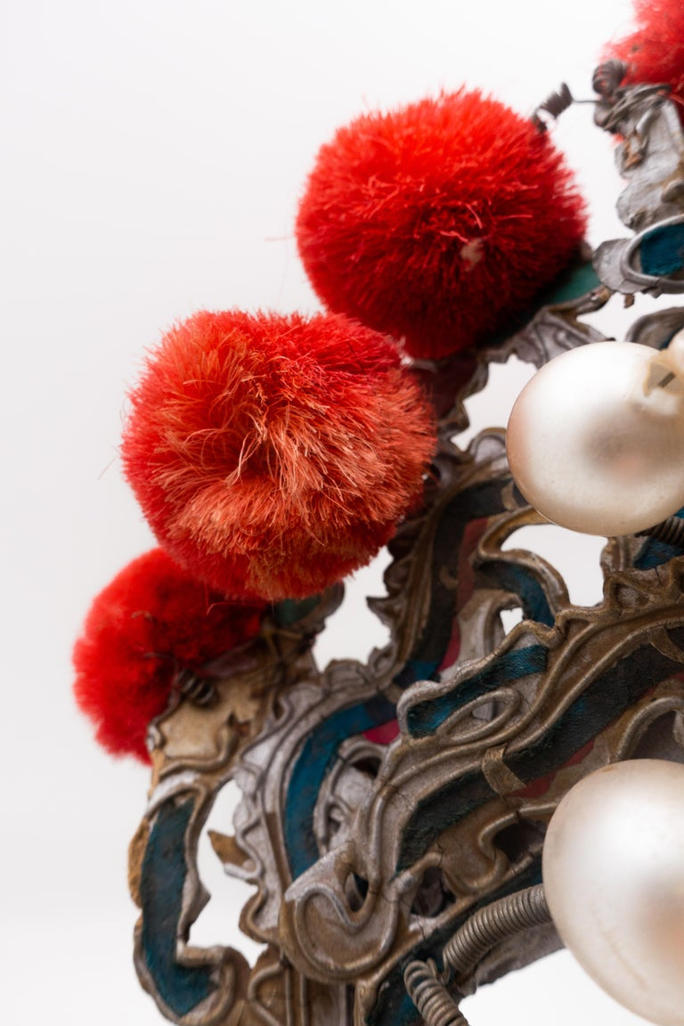 20th Century Antique Chinese Theatre Opera Headdress in Turquoise and Coral Colored Pom Poms For Sale