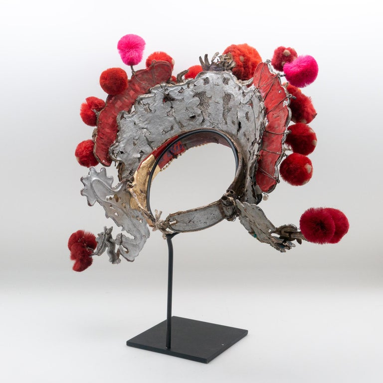 Qing Antique Chinese Theatre Opera Headdress, Turquoise/Silver, Red/Fuchsia Pom-Poms For Sale