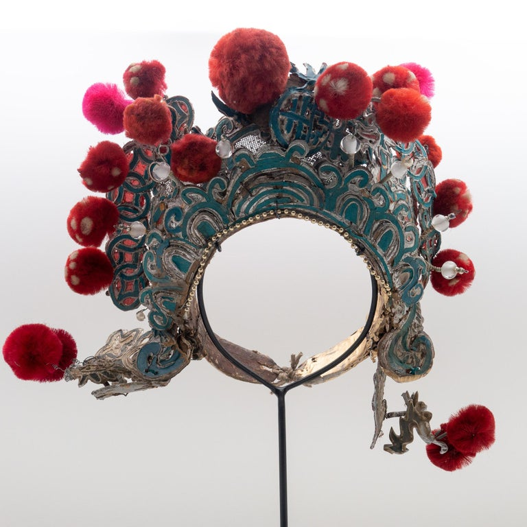 Antique Chinese Theatre Opera Headdress, Turquoise/Silver, Red/Fuchsia Pom-Poms In Good Condition For Sale In New York, NY