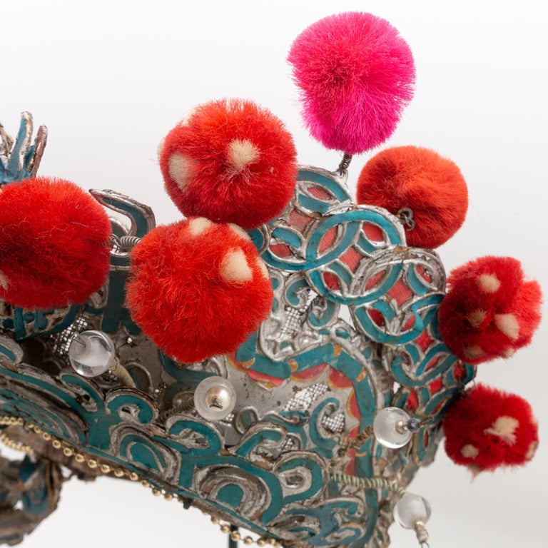 Metal Antique Chinese Theatre Opera Headdress, Turquoise/Silver, Red/Fuchsia Pom-Poms For Sale
