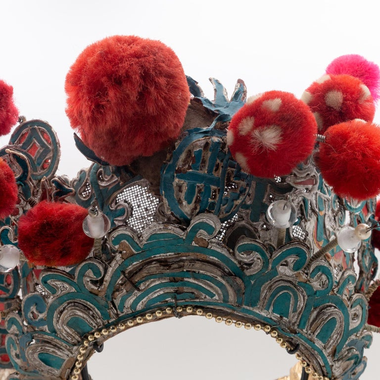Antique Chinese Theatre Opera Headdress, Turquoise/Silver, Red/Fuchsia Pom-Poms For Sale 1