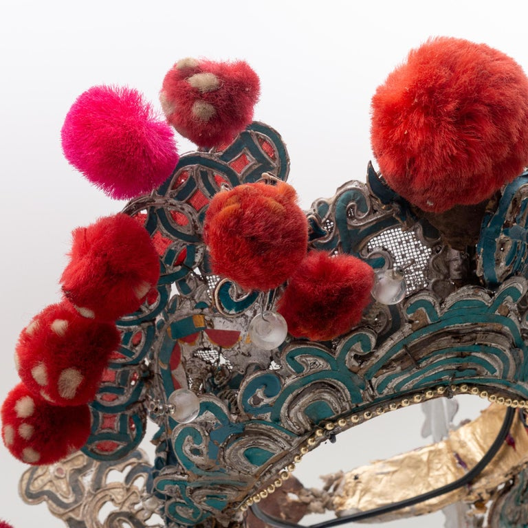 Antique Chinese Theatre Opera Headdress, Turquoise/Silver, Red/Fuchsia Pom-Poms For Sale 2