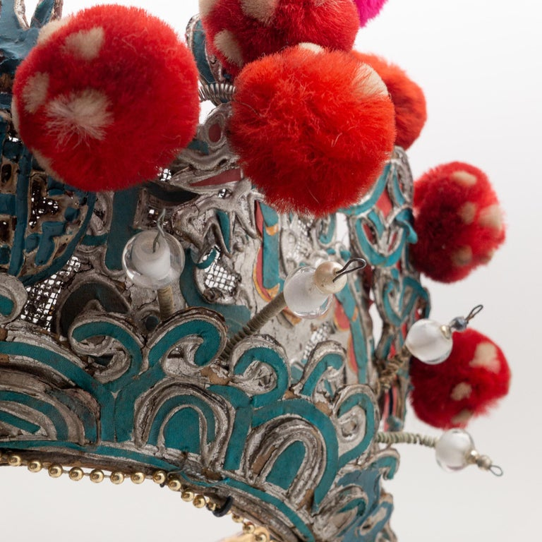 Antique Chinese Theatre Opera Headdress, Turquoise/Silver, Red/Fuchsia Pom-Poms For Sale 3