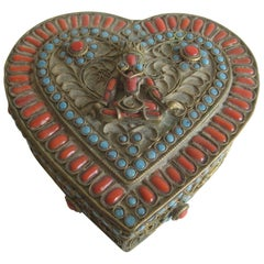 Antique Chinese Tibetan Buddha Brass Filigree Turquoise Coral Heart Shaped Box