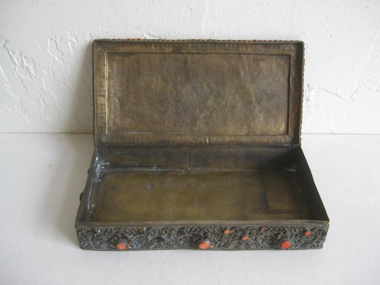 Antique Chinese Tibetan Filigree Brass Trinket Box with Turquoise and Coral For Sale 7
