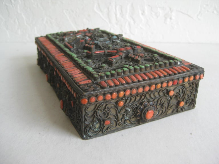 Antique Chinese Tibetan Filigree Brass Trinket Box with Turquoise and Coral For Sale 5