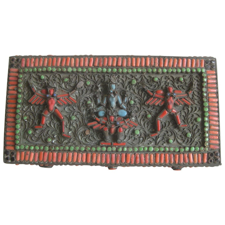 Antique Chinese Tibetan Filigree Brass Trinket Box with Turquoise and Coral For Sale