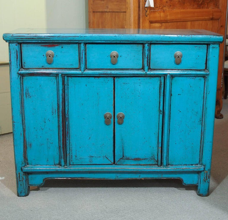 Antique Chinese turquoise lacquered cabinet.