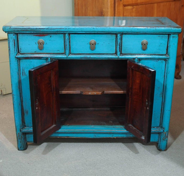 20th Century Antique Chinese Turquoise Lacquered Cabinet For Sale