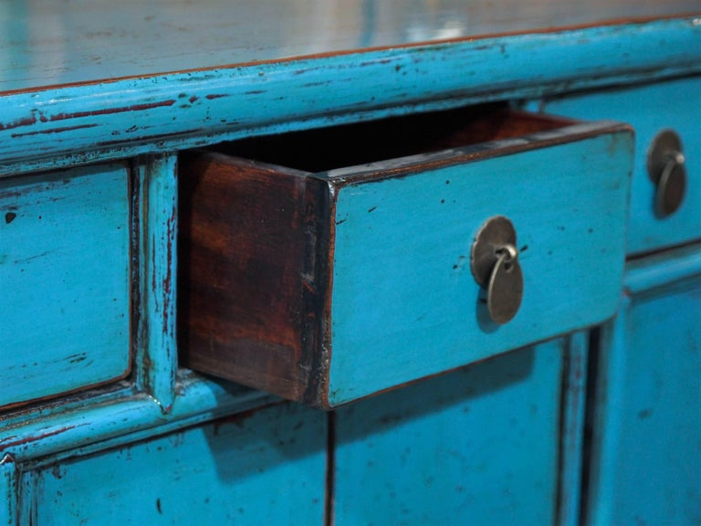Beech Antique Chinese Turquoise Lacquered Cabinet For Sale