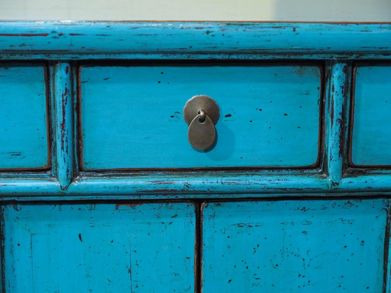 Antique Chinese Turquoise Lacquered Cabinet For Sale 1