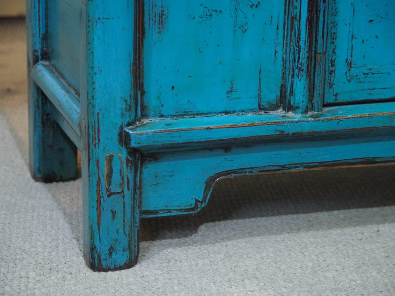 Antique Chinese Turquoise Lacquered Cabinet For Sale 2