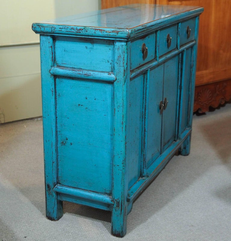Antique Chinese Turquoise Lacquered Cabinet For Sale 3