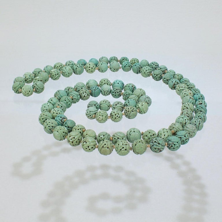 Set of 2 Large Vintage Carved Jadeite Chinese Shou Beads