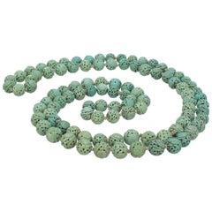 Antique Chinese Turquoise Shou Bead Necklace