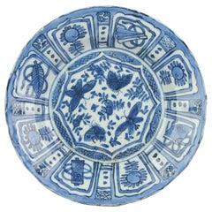 Antique Chinese Wanli Kraak Plate 1600 Porcelain Ming Flowers and Butterflies