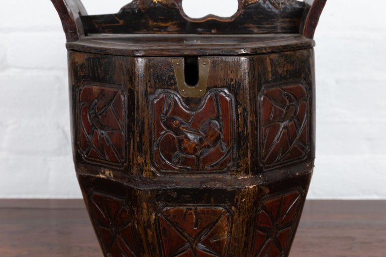 Gilt Antique Chinese Wedding Box with Carved Handle, Animals and Foliage Motifs For Sale