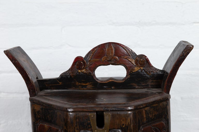 20th Century Antique Chinese Wedding Box with Carved Handle, Animals and Foliage Motifs For Sale