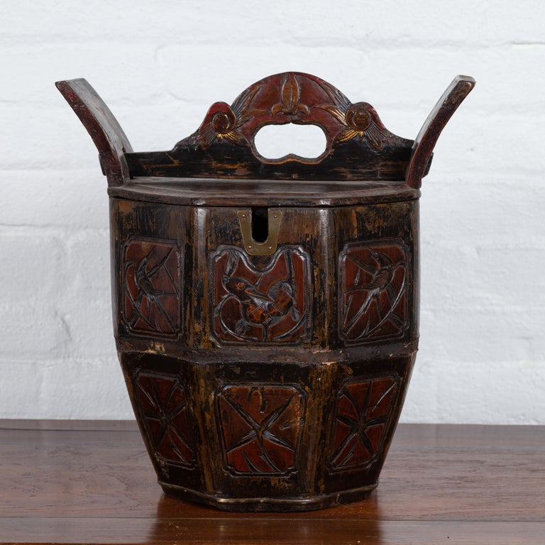 Wood Antique Chinese Wedding Box with Carved Handle, Animals and Foliage Motifs For Sale