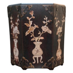 Antique Chinese Wood and Mother of Pearl Planter