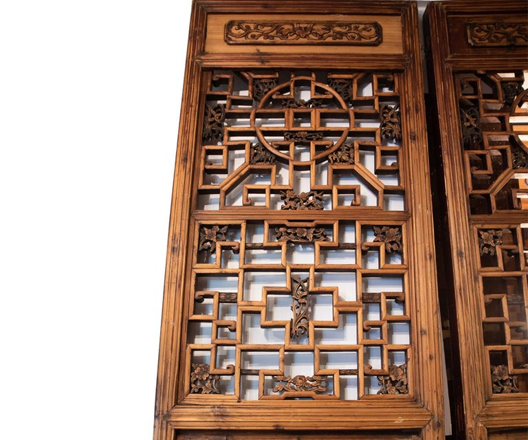 Chinese Export Antique Chinese Wooden Architectural Pair of Screen Doors For Sale
