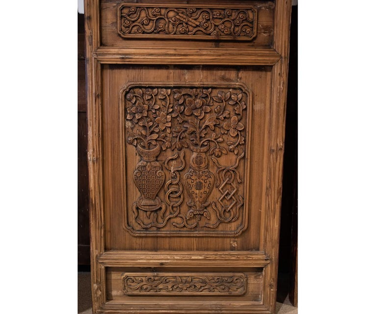 Hand-Carved Antique Chinese Wooden Architectural Pair of Screen Doors For Sale