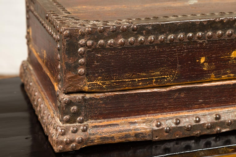 Antique Chinese Wooden Document Box with Distressed Patina and Brass Stud Design In Good Condition For Sale In Yonkers, NY
