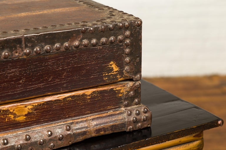 19th Century Antique Chinese Wooden Document Box with Distressed Patina and Brass Stud Design For Sale