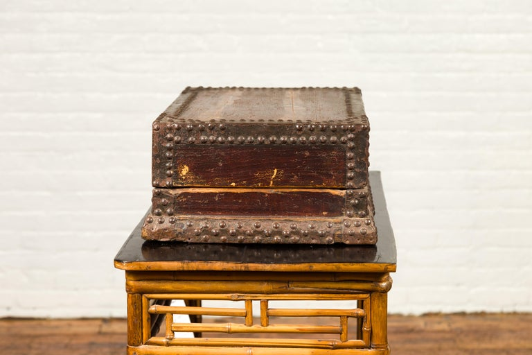 Antique Chinese Wooden Document Box with Distressed Patina and Brass Stud Design For Sale 1