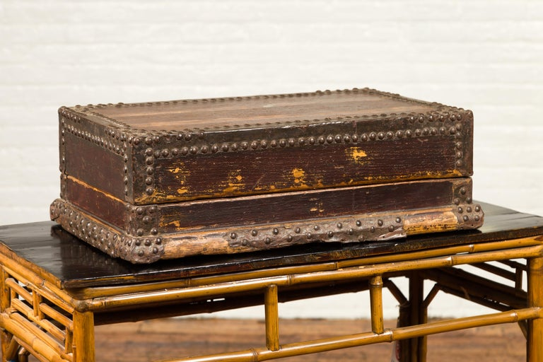 Antique Chinese Wooden Document Box with Distressed Patina and Brass Stud Design For Sale 2