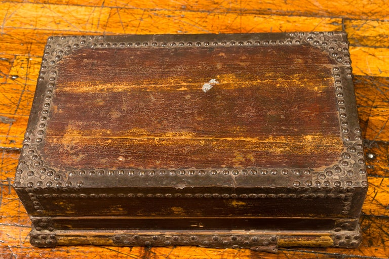Antique Chinese Wooden Document Box with Distressed Patina and Brass Stud Design For Sale 3