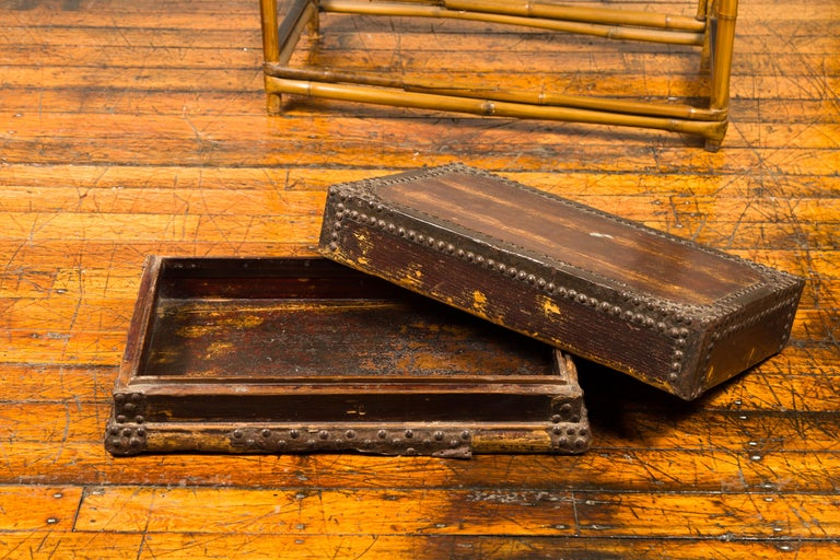 Antique Chinese Wooden Document Box with Distressed Patina and Brass Stud Design For Sale 4