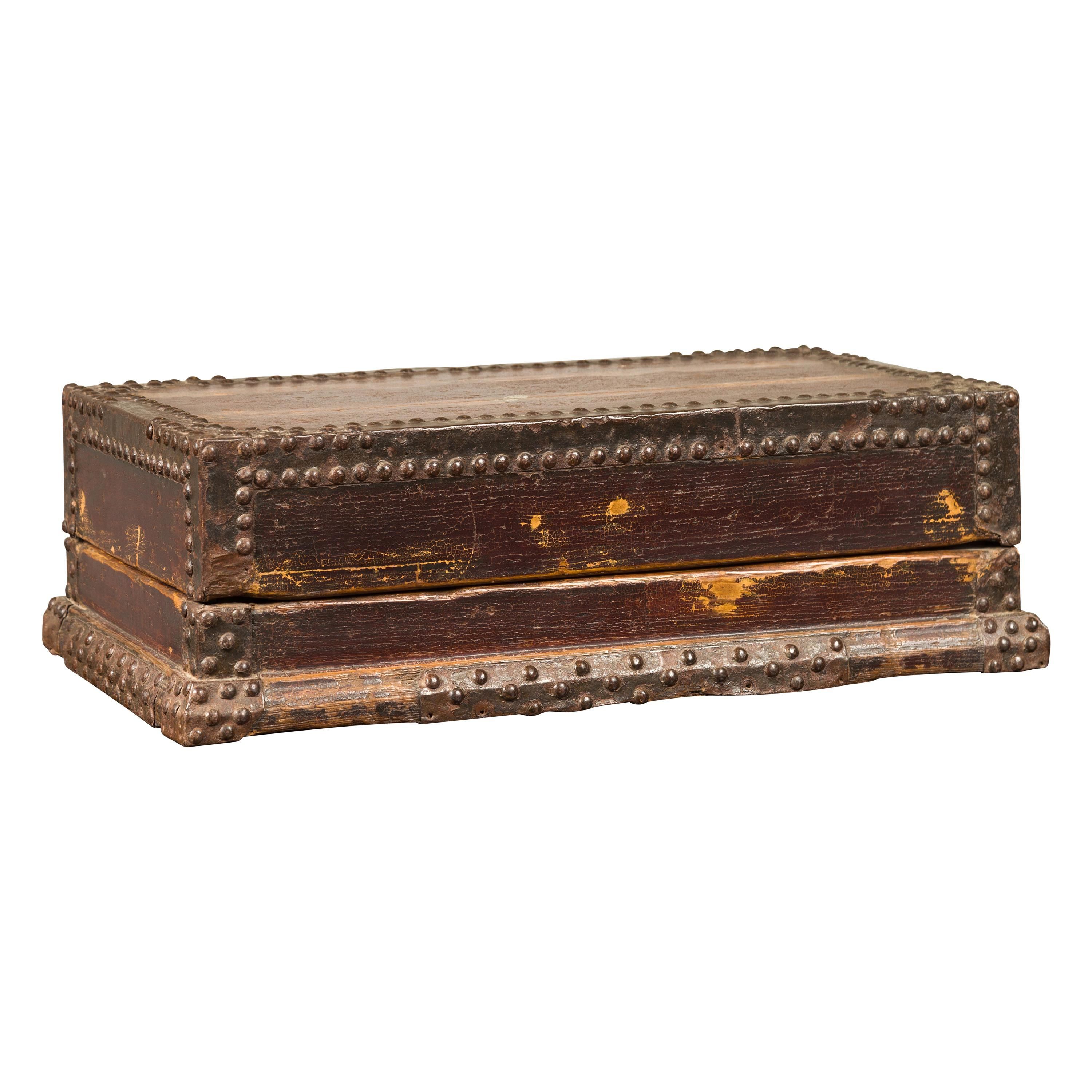 Antique Chinese Wooden Document Box with Distressed Patina and Brass Stud Design