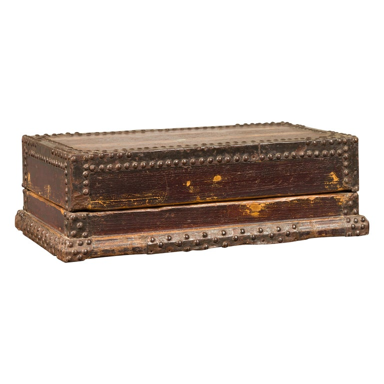 Antique Chinese Wooden Document Box with Distressed Patina and Brass Stud Design For Sale
