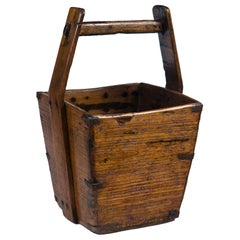 Antique Chinese Wooden Water Bucket, Early 20th Century