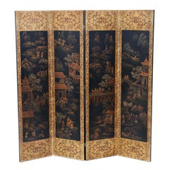 Antique Chinoiserie Dressing Screen Room Divider