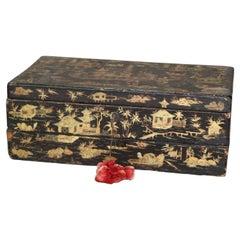 Antique Chinoiserie Ebonized & Gilt Decorated Traveling Desk, 19th Century