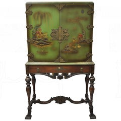 Antique Chinoiserie English Georgian Green Figural Orientalist Painted Cabinet