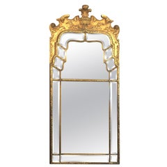 Antique Chinoiserie Gold Mirror with Fine Beveling, circa 1910-1920