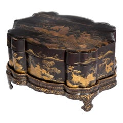 Antique Chinoiserie Lacquer Jewelry Box on Tray, 19th Century