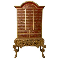 Antique Chinoiserie Lacquer Storage Cabinet on Carved Giltwood Stand