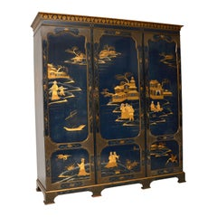 Antique Chinoiserie Lacquered 3-Door Wardrobe by Hille