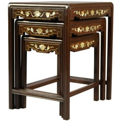 Antique Chinoiserie Mother of Pearl Inlaid and Gilt Hardwood Nesting Table